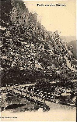 Region HARZBURG GOSLAR ~1900 Okertal Felsen Fels-Partie Brücke Persoen Fluss
