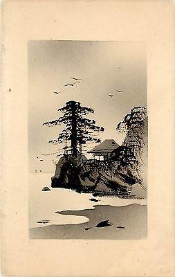 Bird Wash House - ink wash Postcard Japanese Art Trees Cliff, birds beach and House vignette