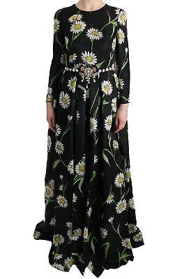 Nuevo Dolce & Gabbana Vestido Seda Margarita Estampado Cristal Maxi IT38/ US4/