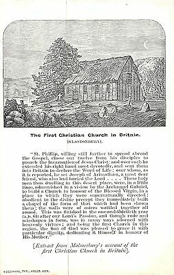 POSTCARD   RELIGIOUS    GLASTONBURY  The  First  Christian Church in  Britain