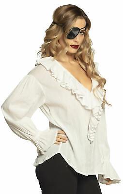 Piratenbluse Piratin Rüschenbluse Damen Karneval Fasching Kostüm Weiß - Rüschen Bluse Pirat