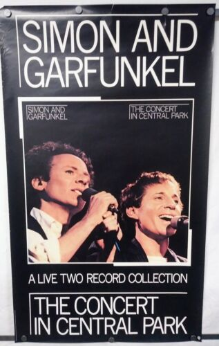 """SIMON AND GARFUNKEL Concert In Central Park 1982 WB Promo Poster 23""""Wx39""""H VG"""