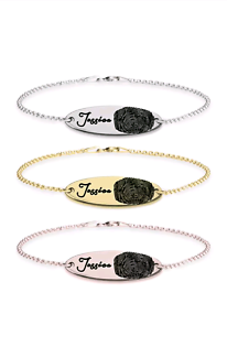 Personalised Fingerprint Bar Bracelet Made to Order
