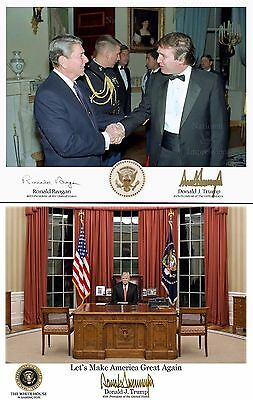 2-Donald Trump Reagan & Oval Office Presidential Seal Signed 8X10 Picture