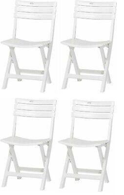 4 x Sillas Resina Plegable Blanca