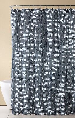 Gingham Shower Curtain (Gray and White Fabric Shower Curtain: Farmhouse Gingham with Pintuck Design)