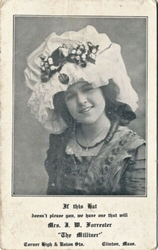 "c1905 Advertising Postcard ""The Milliner"" Clinton, Massachusetts, Fluffy Hat"