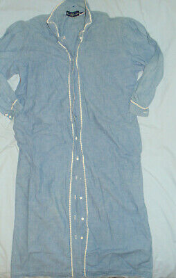 Womens Ralph Lauren Long Sleeve Blue Chambray Cotton Shirt Dress Sz 8- VGC Lg