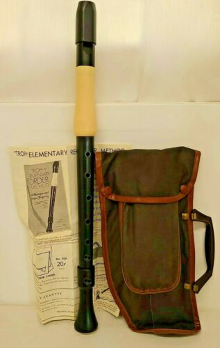Cambridge Trophy Elementary Recorder Vtg Carry Bag Instructions Music Instrument
