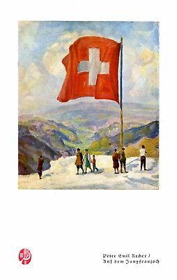Jungfraujoch Druck 1929 Peter Emil Recher * & † Heilbronn Schweiz Berner Alpen -