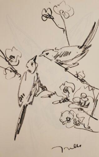 JOSE TRUJILLO - Original Charcoal Paper Sketch Drawing 11X17 BIRDS FLOWERS ART