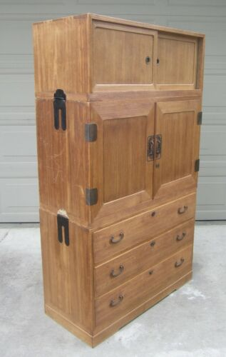 Antique Japanese Kiri wood tansu kimono chest dresser cabinet Meiji 19th century