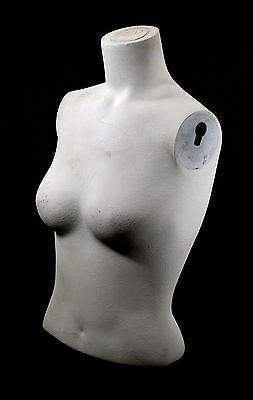 Dav White Mannequin Bust With Keyhole Shoulder Sockets Base Stand Ready