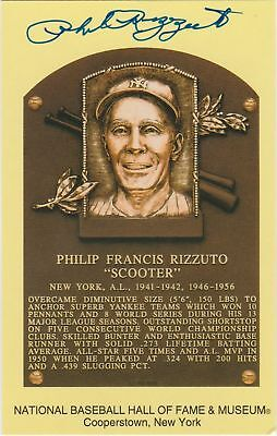 PHIL RIZZUTO AUTOGRAPHED YELLOW/GOLD HALL OF FAME PLAQUE NEW YORK YANKEES 1994