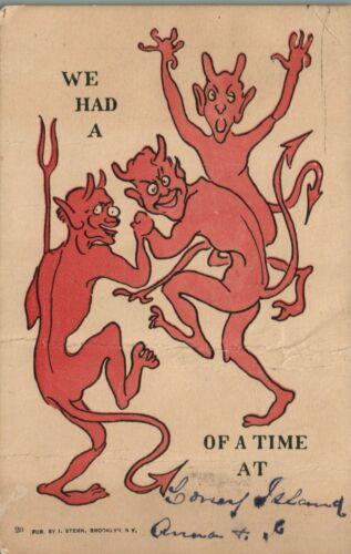 RED DEVILS CONEY ISLAND, NY UNDIVIDED SPOOKY HALLOWEEN POSTCARD
