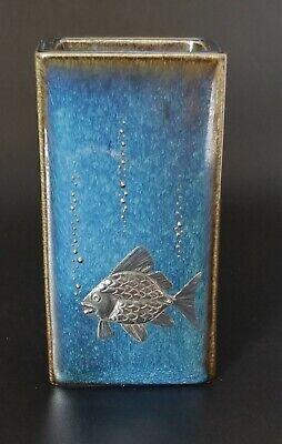 Blue Swedish Fish ( VTG Blue MCM SWEDISH Art Pottery Sterling Silver FISH Vase GUSTAVSBERG)