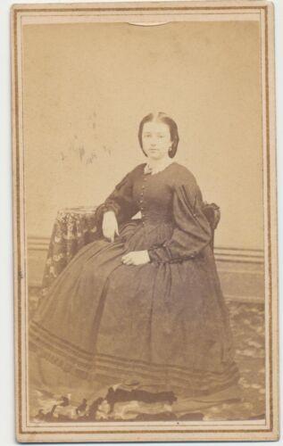 1860s CDV PHOTO SEATED LADY HOOP DRESS CIVIL WAR TAX REVENUE STAMP TOLEDO OH #55