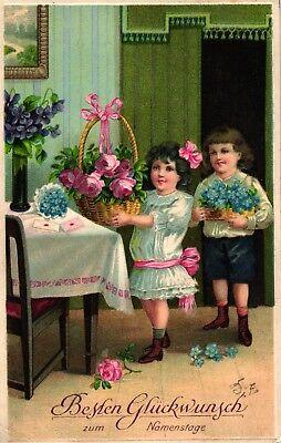 Namenstag, Kinder, Blumen, Prägekarte, um 1910/20