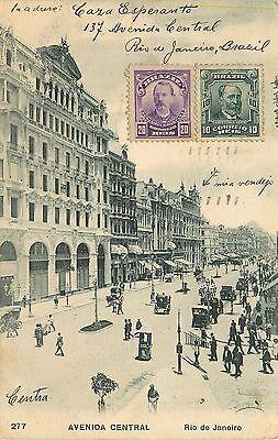 Avenida Central, Rio De Janeiro, Brazil Postcard. 1910 Postmark