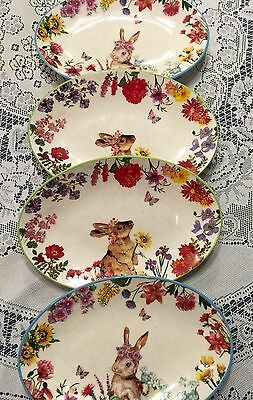 Beautiful Vintage Set Of 4 Plates Bunny Easter Spring Flowers
