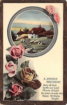 Joyous Birthday Greeting Embossed Antique Postcard Unposted Writing Roses Farm Antique Rose Farm