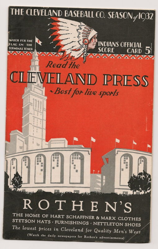 1932 Cleveland Indians-Yankees Program Yanks Win Two of Three!!