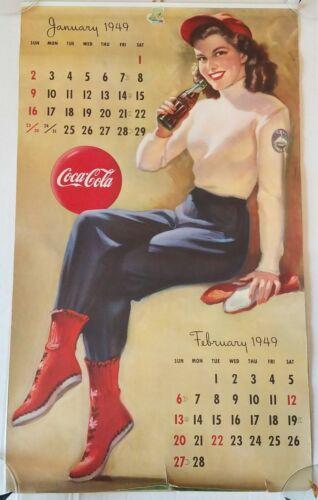 "Original 1949 Coca Cola Calendar complete all pages 22"" soda pop advertising"