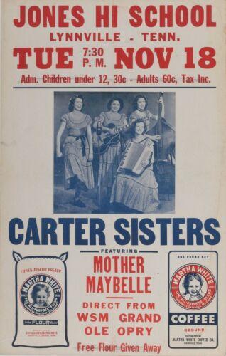 Carter Sisters concert poster 1955 Vintage Original