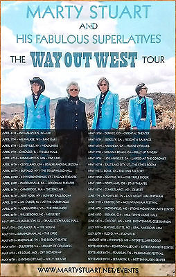 MARTY STUART Way Out West 2017 Ltd Ed RARE Tour Poster +FREE Country Folk Poster