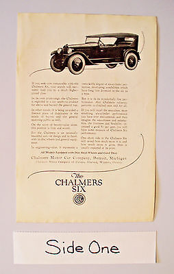 VTG 1922 MAGAZINE AD PAGE - CHALMERS SIX DETROIT MI - PITTSBURG GAS WATER HEATER
