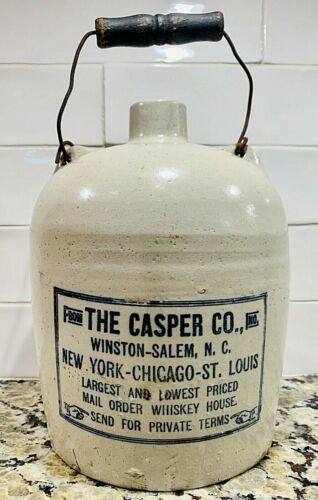 Antique Whiskey Jug, The Casper Co, Winston-Salem, NC, Stenciled Label, ~1900