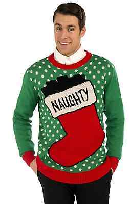 Naughty Stocking Christmas Sweater Adult Accessory Size L Chest Size 42 - 44 - Naughty Christmas Sweaters