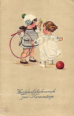 Namenstag, Kinder mit Spielzeug, um 1910/20