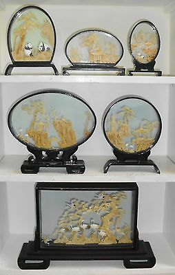6 Chinese Japanese Cork Scene Wood Frame Pedestal Landscapes