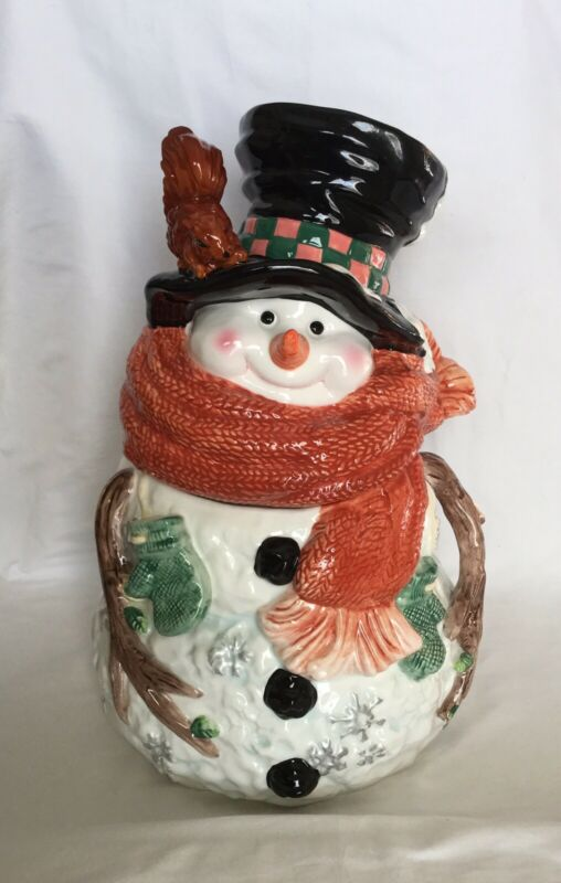 Christmas Snowman Cookie Jar Winter Decor Large 12.75 IN./32.38 CM BUCHASE 2002