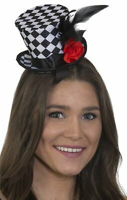 Black And White Checkered Hat (Black and White Checkered Mini Top Hat on)