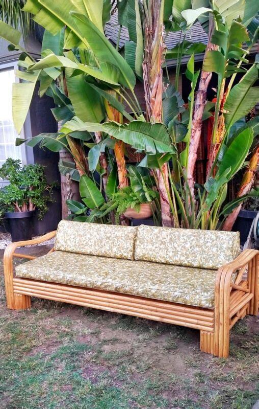 Vintage atomic mid century modern bamboo rattan sofa