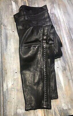 "J Brand ""Bonded Stud"" Liquid Lambskin Leather Black Crop Skinny Pant 8 (28"")"