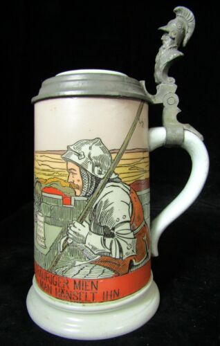 Antque Mettlach Germany 1/2L Beer Stein - #2887 Far Sweetheart - Villeroy & Boch