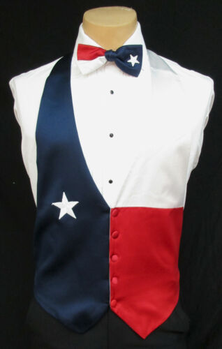 Boys Small Red White & Blue Texas Star Satin Tuxedo Vest & Bow Tie *Made in USA*