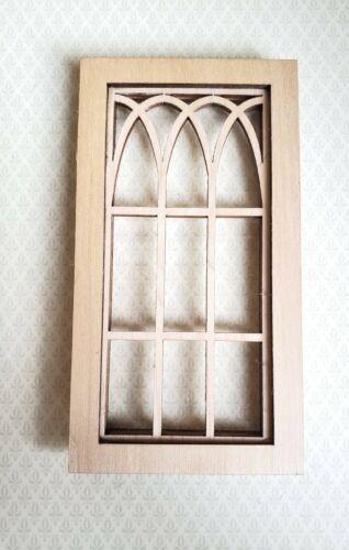 Dollhouse Miniature Window Tudor Gothic Arch Style Wood 1:12 Scale