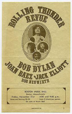 Original Bob Dylan Joan Baez Rolling Thunder Revue 1975 Concert Handbill