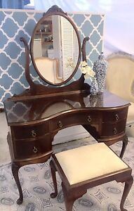 Antique Ornate Queen Anne Dressing Table Dresser Mirror Cashmere Pine Rivers Area Preview