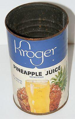 Vintage 1960S  Kroger Pineapple Juice Paper Label Metal Tin Can Advertising