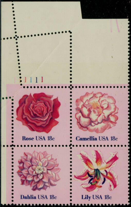 """#1879a Var. """"18¢ Flowers"""" Plate # Block Of 5 With Fold Over Major Error Bq1030"""