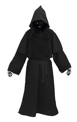 Adults Black Death Robes & Facepaint Scary Halloween Fancy Dress Costume (Death Face Paint Halloween)