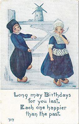 Vintage Postcard Happy Birthday Dutch Kids Holland Owen Dansville, NY