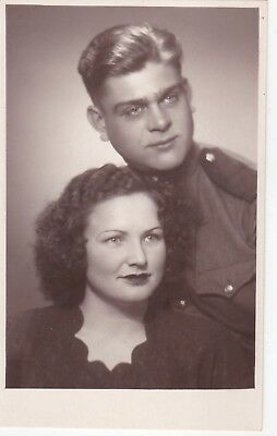 1940s Pretty beautiful woman with military man fashion old Russian Soviet photo