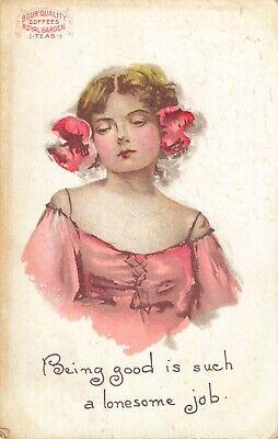 1909 Postcard Lady Pink Bour Quality Coffees Royal Garden Teas