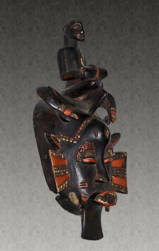 AFRICAN MASK WOOD SENUFO Kpelie ANTIQUES VINTAGE ETHNIC TRIBAL WOODEN ART
